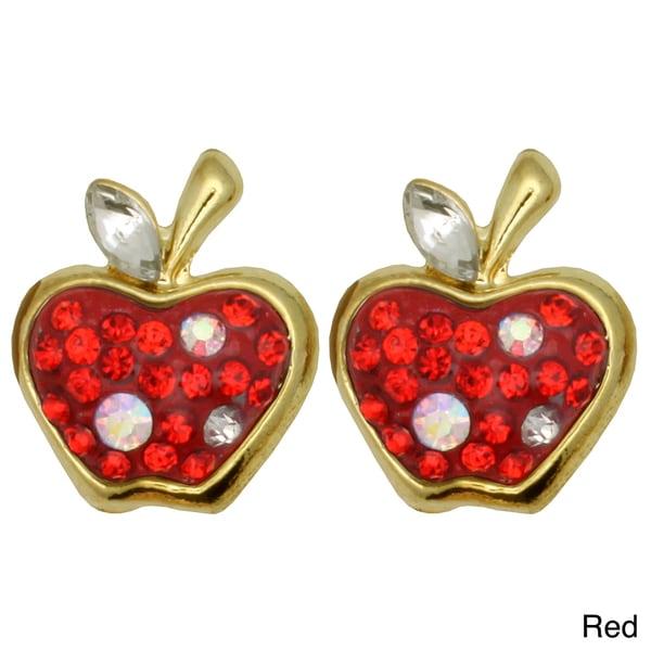Kate Marie Goldtone Rhinestone Apple Design Earrings