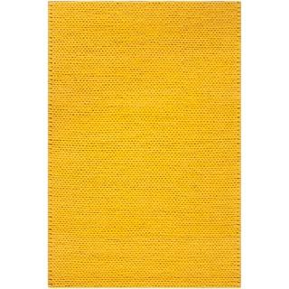 Handwoven Attert Lemon New Zealand Wool Soft Braided Texture Rug (3' x 5')