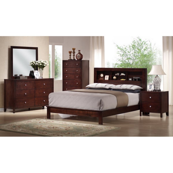 montana king 5 piece mahogany brown wood modern bedroom