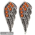 Kate Marie Silvertone Rhinestone Wing Design Earrings