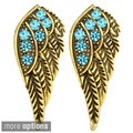 Kate Marie Goldtone Rhinestone Wing Design Earrings