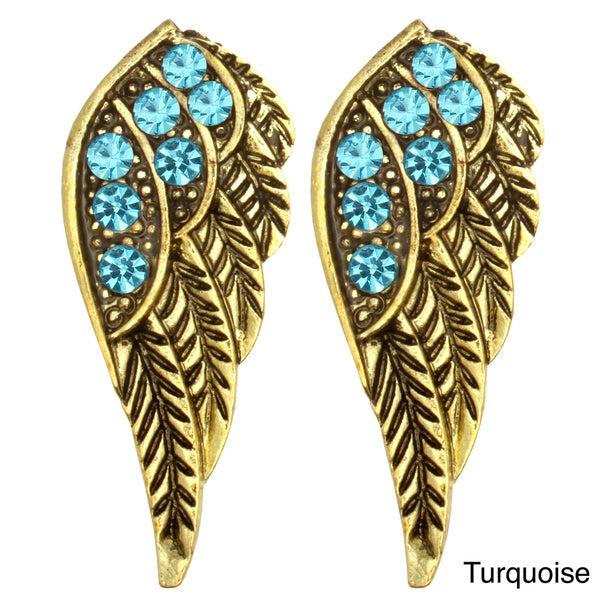Kate Marie Goldtone Rhinestone Wing Design Earrings