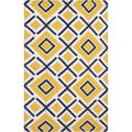 Handwoven Baelen Sunshine Yellow Wool Rug (2' x 3')