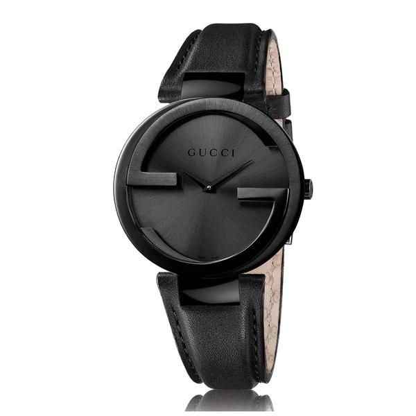 Gucci Women's YA133302 Black Steel Leather Strap Watch