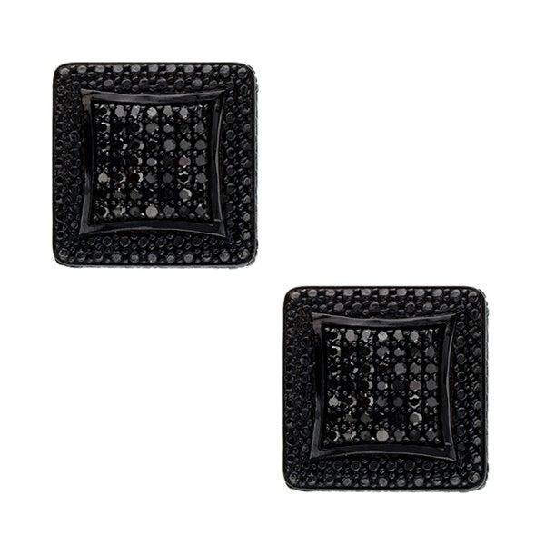 Sterling Silver 1/2ct TDW Black Diamond Composite Earrings