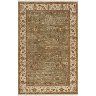 Hand-knotted Misset Asparagus Green New Zealand Wool Rug (5' 6 x 8' 6)