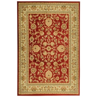 Traditional Yale Mahal Burgundy Area Rug (5'3 x 7'3)