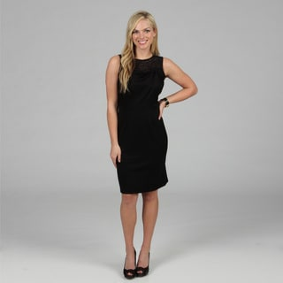 Amelia Women's Black Lace Detailed Ponte Dress