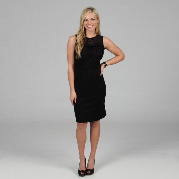 Amelia Women's Black Lace Detailed Ponte Dress