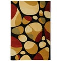 Yale Contemporary Abstract Black Area Rug (5'3 x 7'3)