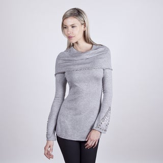Colour Works Women's Fog Beaded Detail Capelet Sweater