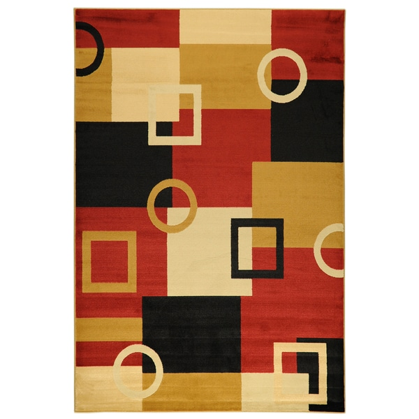 Ottomanson Yale Contemporary Geometric Multicolor Area Rug (5'3 x 7'3)