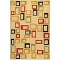 Yale Contemporary Abstract Beige Area Rug (5&#39;3 x 7&#39;3)