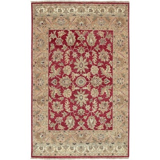 Hand-knotted Tangier Brick Red New Zealand Hard Twist Wool Rug (3' 9 x 5' 9)