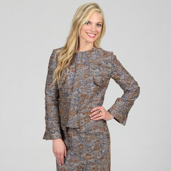 Amelia Women's Metallic Blue Boucle Zip-up Jacket