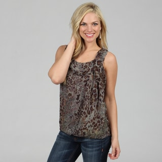 Amelia Women's Grey Animal Print Sleeveless Blouse