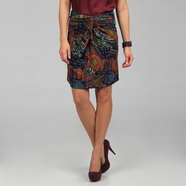 Kozy Front Twist Multi Color Print Skirt