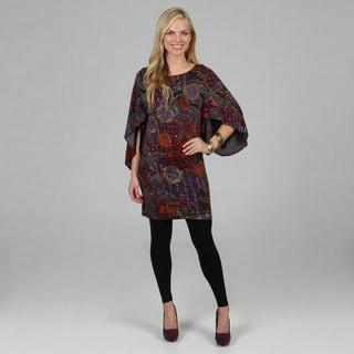 Kozy Women's Abstract Print Bell Sleeve Knit Tunic Dress