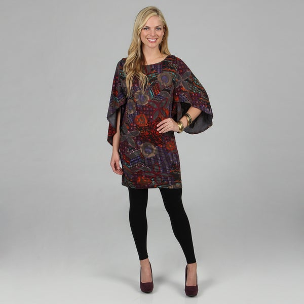 Kozy Women's Abstract Print Bell Sleeve Knit Tunic Dress