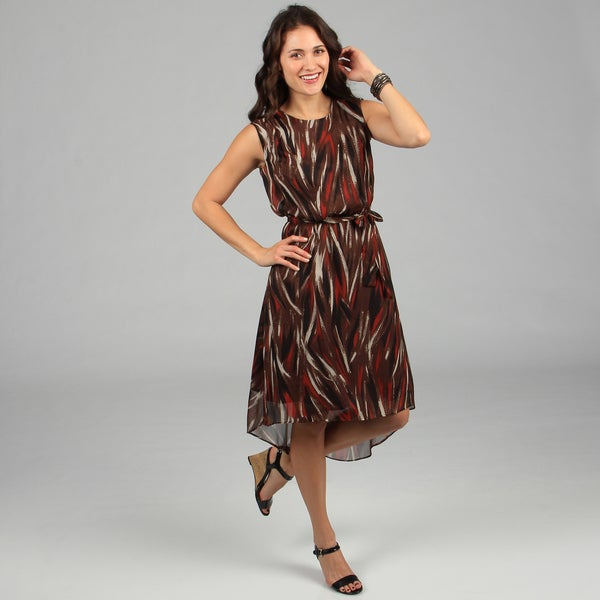 CeCe's New York Women's Brown Patterned Tie-front Dress