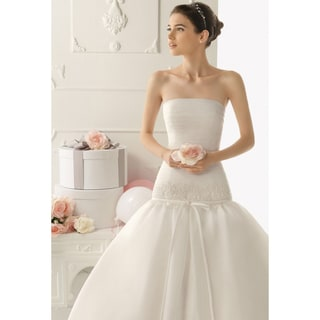 Women's White Organza Formal Wedding Gown