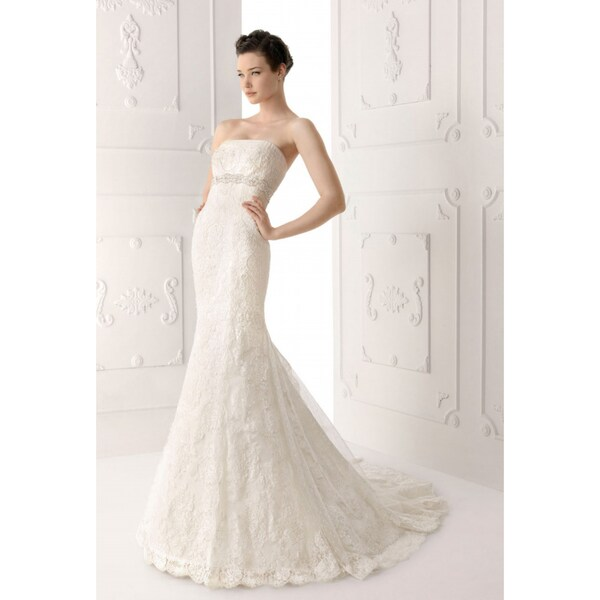 Women's White Satin and Lace Strapless Mermaid Wedding Gown