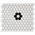 SomerTile 10.25x11.75-in Victorian Hex 1-in Glossy White with Flower Porcelain Mosaic Tiles (Pack of 10)