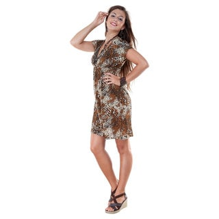 Animal Print Deep V-Neck Coverup Tunic Short Dress