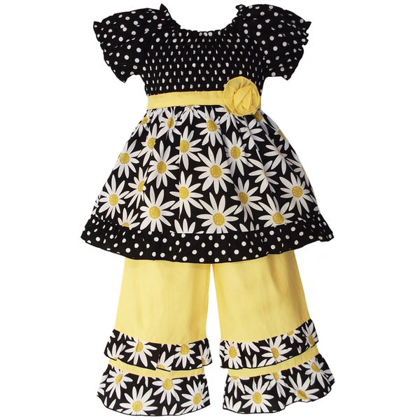 AnnLoren Girls' 2-piece Smocked Daisies/ Dot Outfit