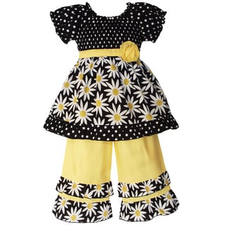 AnnLoren Girls&#39; 2-piece Smocked Daisies/ Dot Outfit