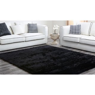 Abbyson Living Black Plush Shag Rug
