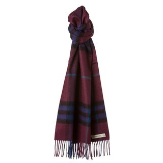 Burberry Burgundy Check Cashmere Scarf