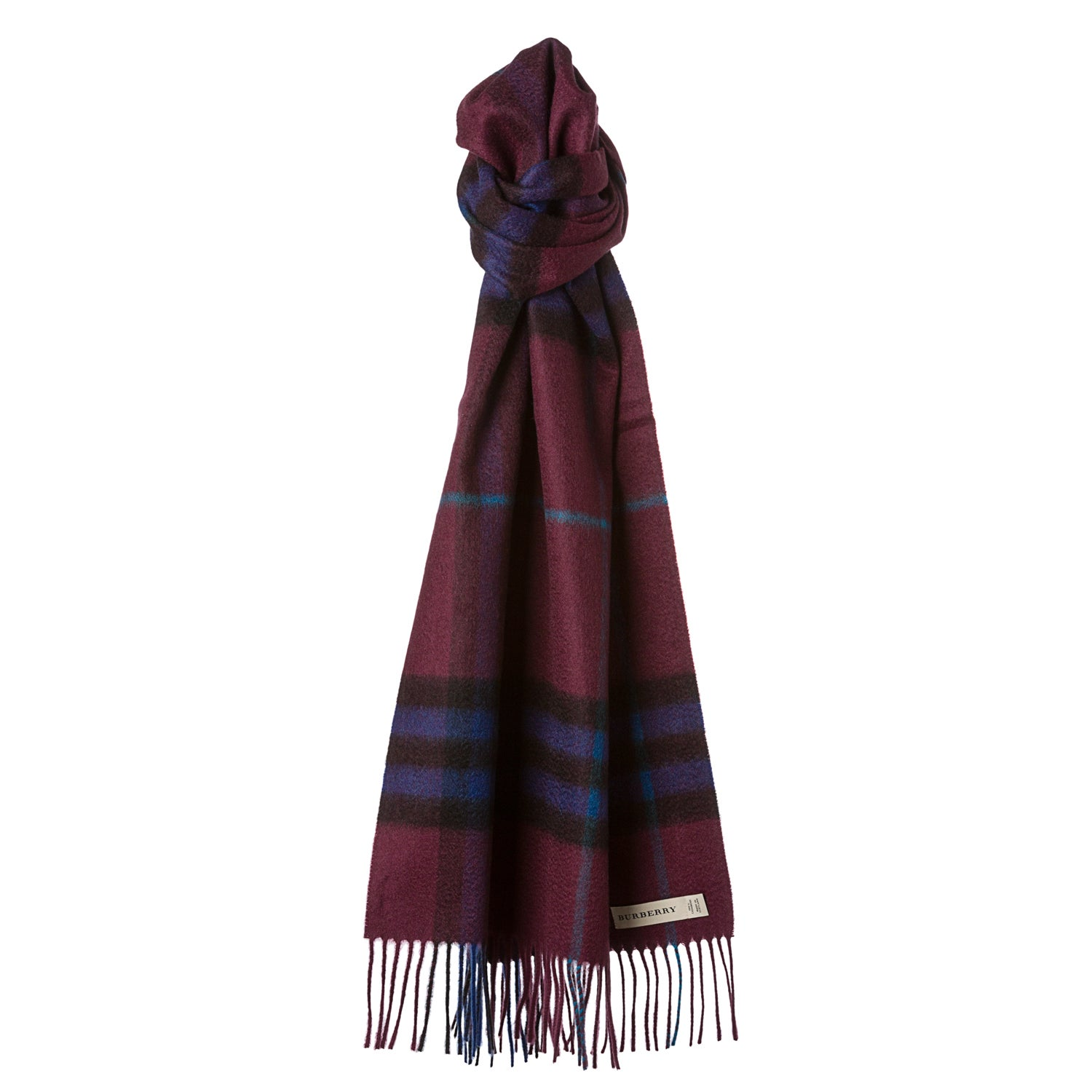 Burberry Burgundy Check Cashmere Scarf  JustCampus Cashmere Burberry Scarves