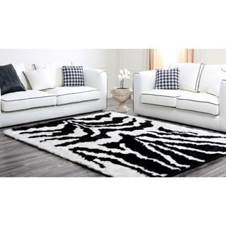 Abbyson Living Black and White Plush Shag Rug