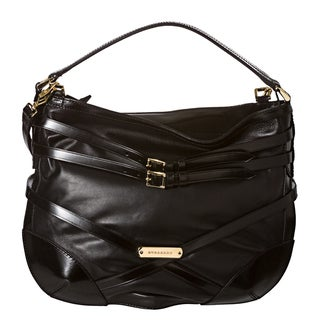 Burberry 'Bridle' Small Black Leather Hobo Bag