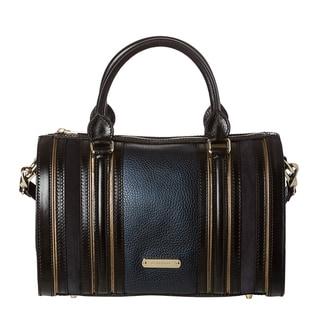 Burberry Medium Metallic Blue Leather/ Suede Bowler Bag