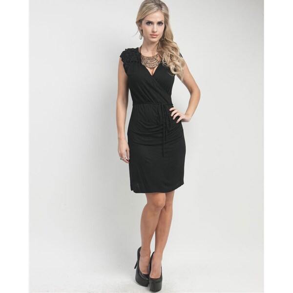 Stanzino Women's Black Corsage Detail Jersey Dress