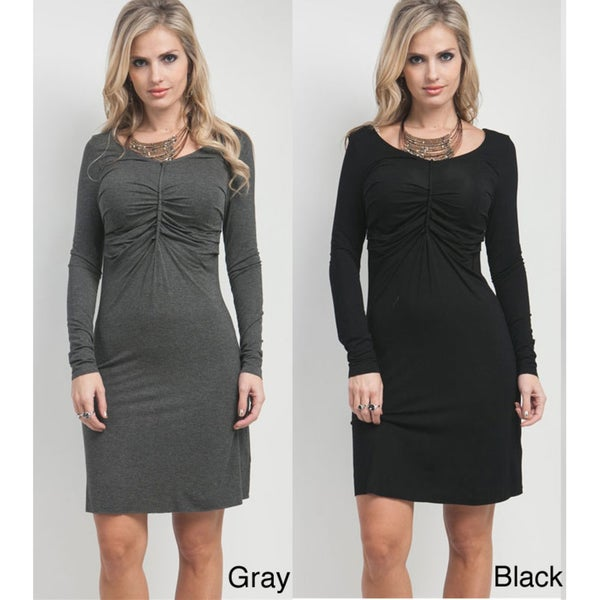 Stanzino Women's Solid Long Sleeve Ruched-front Dress