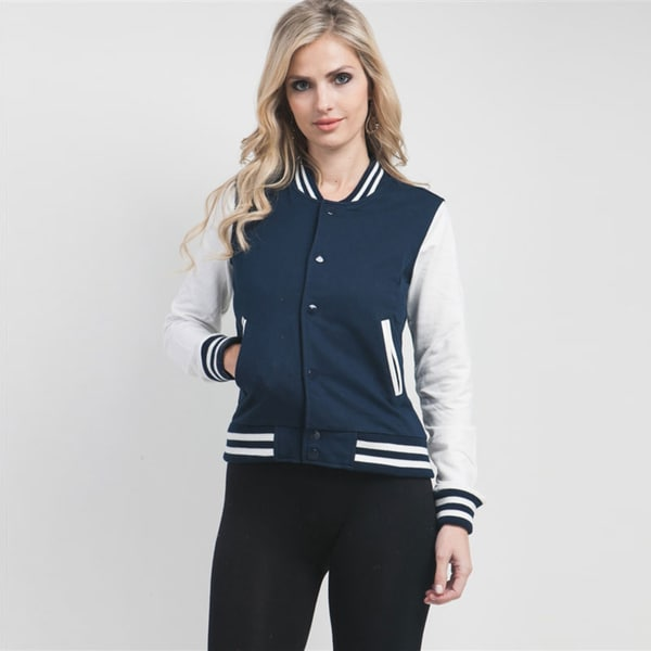 Stanzino Women's Navy and White Varsity Style Jacket