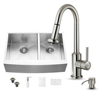 Vigo All-in-one Steel 33-inch Farmhouse Double Bowl Sink and Faucet Set