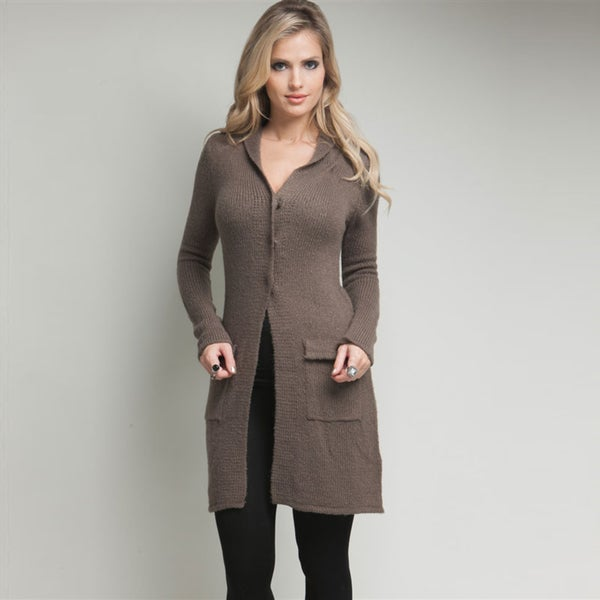 Stanzino Women's Hooded Long Knit Cardigan