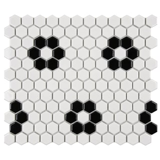 SomerTile Victorian Hex 1-inch Flower Porcelain Mosaic Tile (Pack of 10)