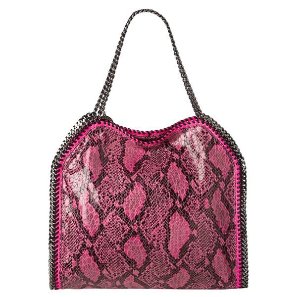 Stella McCartney 'Baby Bella' Fuchsia Faux Python Tote Bag