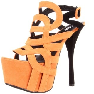 Fahrenheit Women's 'Jean-03' Strappy Platform Sandals