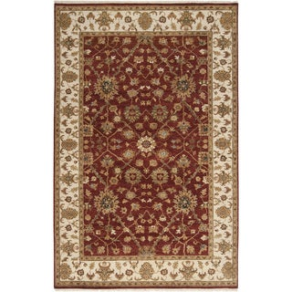 Hand-knotted Misset Scarlet Red Wool Rug (5'6 x 8'6)