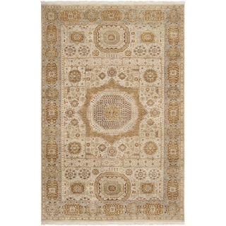 Hand-knotted Larache Ivory New Zealand Wool Rug (5'6 x 8'6)