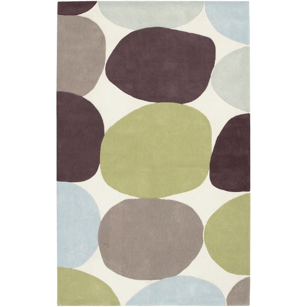 Hand-tufted Sidi Green Geometric Rug (2' x 3')