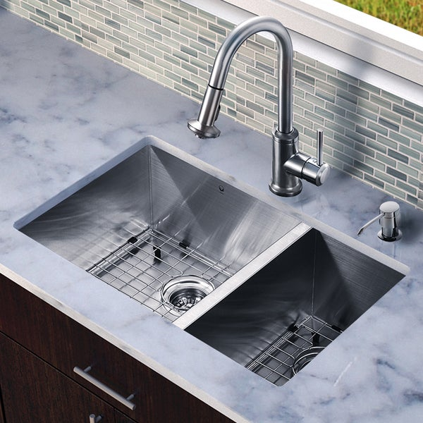 Vigo All-in-one Steel 29-inch Undermount Double Bowl Sink and Faucet Set