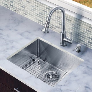 Vigo All-in-One 23-Inch Undermount Stainless-Steel ADA-Compliant Kitchen Sink and Faucet Set