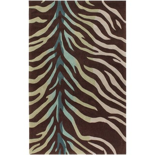 Hand-tufted Brown/Blue Zebra Animal Print Dakla Rug (9' x 13')